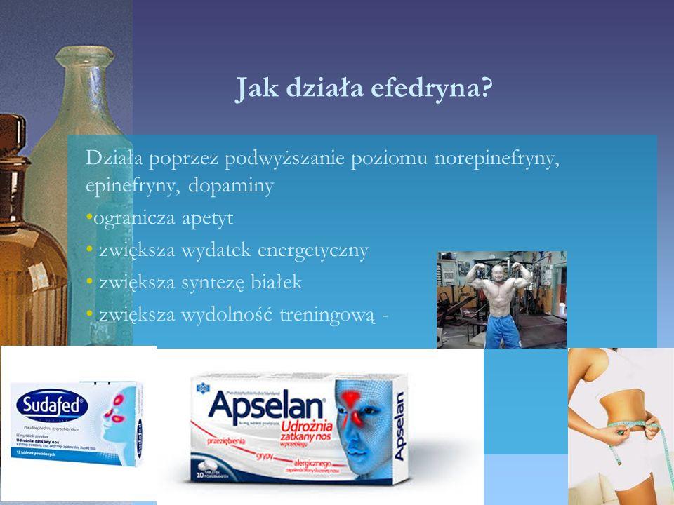 Jak działa efedryna? Działa poprzez podwyższanie poziomu norepinefryny, epinefryny, dopaminy ogranicza apetyt zwiększa wydatek energetyczny zwiększa s