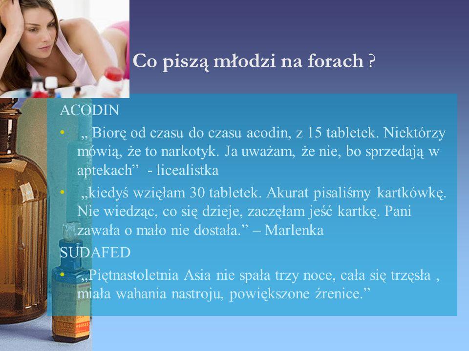 """Co piszą młodzi na forach ? ACODIN """" Biorę od czasu do czasu acodin, z 15 tabletek. Niektórzy mówią, że to narkotyk. Ja uważam, że nie, bo sprzedają w"""