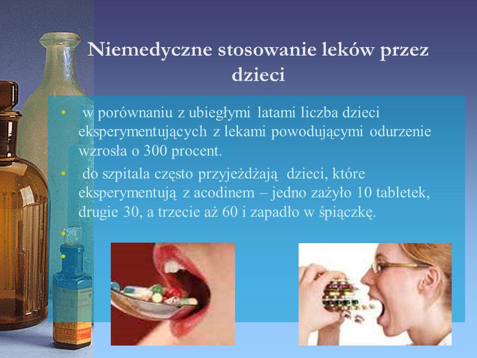 Niemedyczne stosowanie leków przez dzieci w porównaniu z ubiegłymi latami liczba dzieci eksperymentujących z lekami powodującymi odurzenie wzrosła o 3