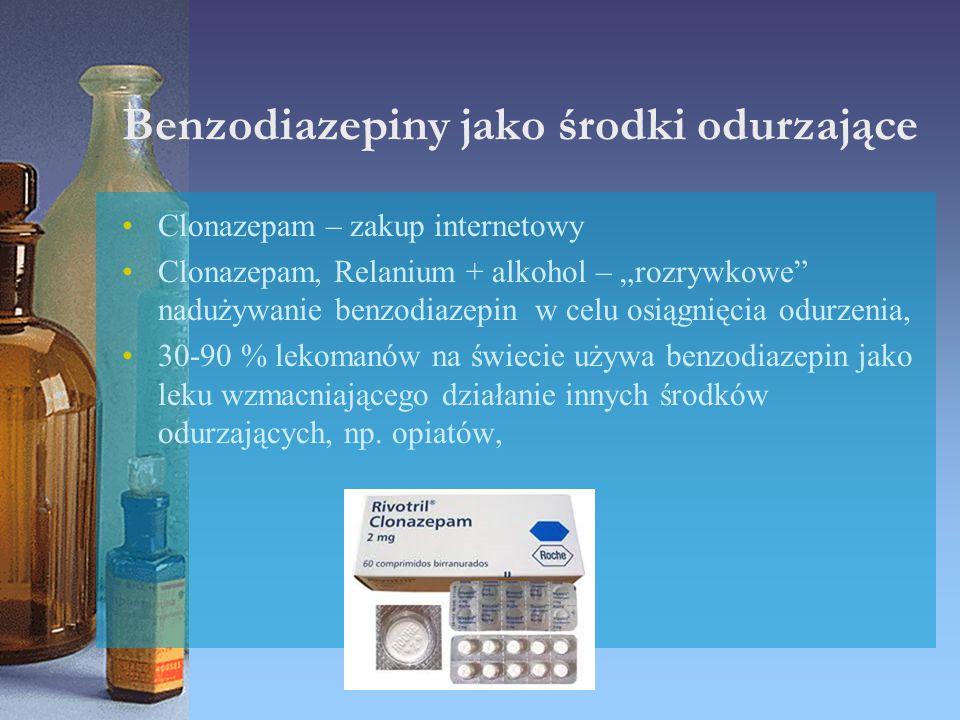 """Benzodiazepiny jako środki odurzające Clonazepam – zakup internetowy Clonazepam, Relanium + alkohol – """"rozrywkowe"""" nadużywanie benzodiazepin w celu os"""