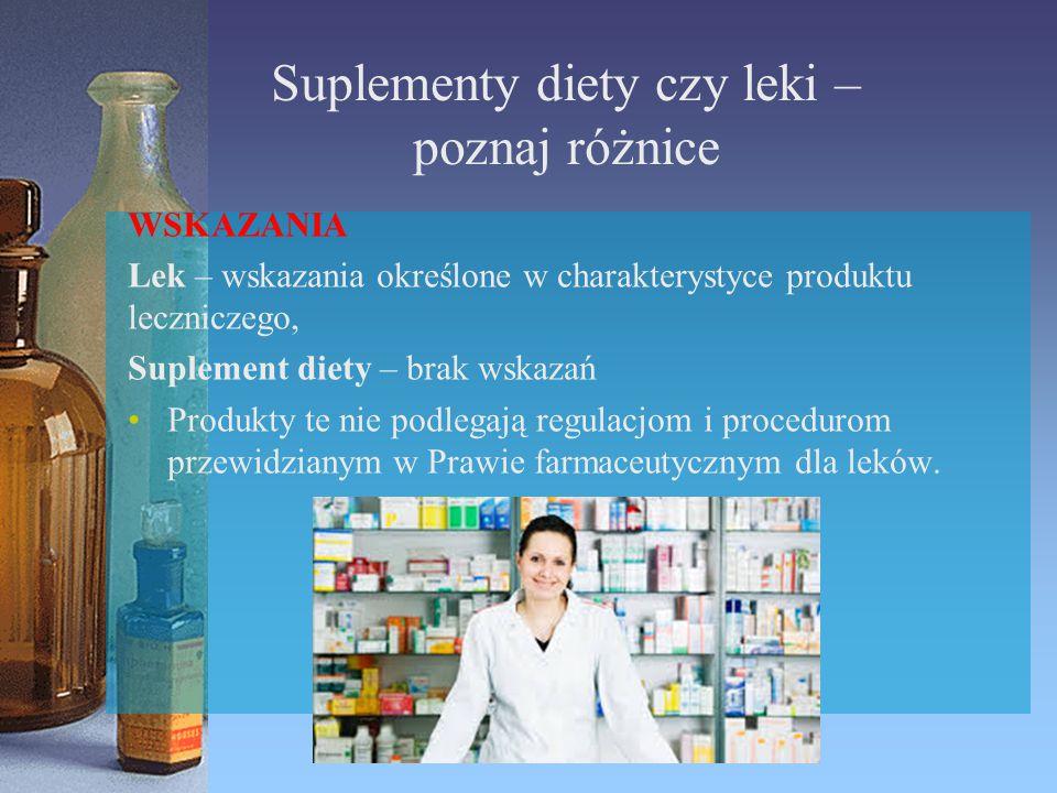 Suplementy diety czy leki – poznaj różnice WSKAZANIA Lek – wskazania określone w charakterystyce produktu leczniczego, Suplement diety – brak wskazań