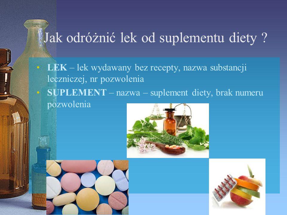Jak odróżnić lek od suplementu diety ? LEK – lek wydawany bez recepty, nazwa substancji leczniczej, nr pozwolenia SUPLEMENT – nazwa – suplement diety,