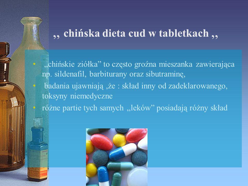 """"""" chińska dieta cud w tabletkach """" """"chińskie ziółka"""" to często groźna mieszanka zawierająca np. sildenafil, barbiturany oraz sibutraminę, badania ujaw"""