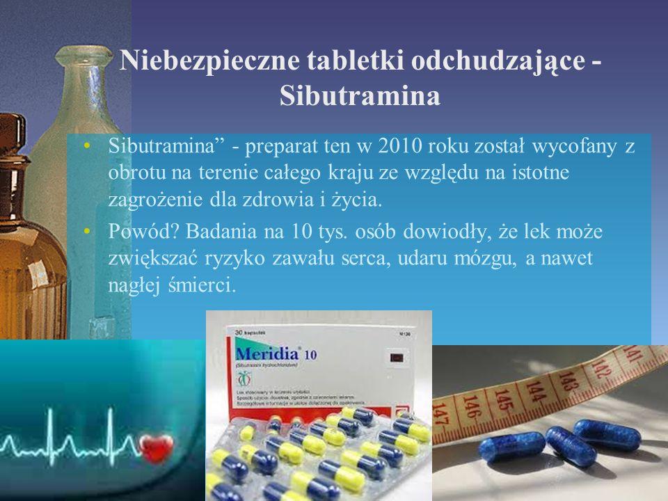 """Niebezpieczne tabletki odchudzające - Sibutramina Sibutramina"""" - preparat ten w 2010 roku został wycofany z obrotu na terenie całego kraju ze względu"""