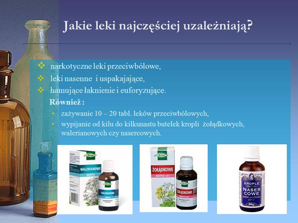 Jakie leki najczęściej uzależniają ?  narkotyczne leki przeciwbólowe,  leki nasenne i uspakajające,  hamujące łaknienie i euforyzujące. Również : z