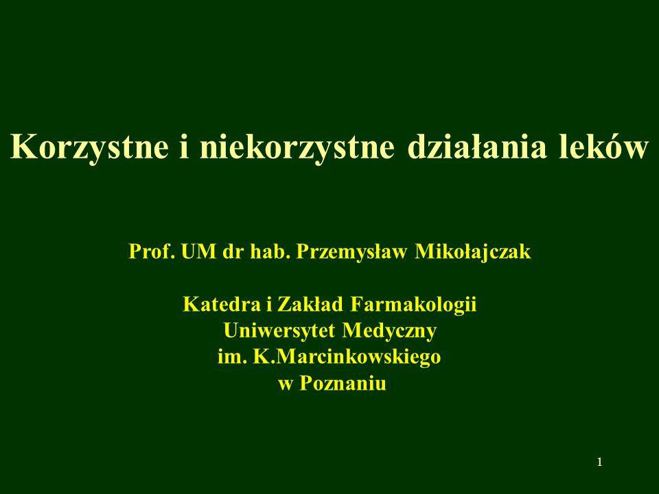 Korzystne i niekorzystne działania leków Prof. UM dr hab. Przemysław Mikołajczak Katedra i Zakład Farmakologii Uniwersytet Medyczny im. K.Marcinkowski