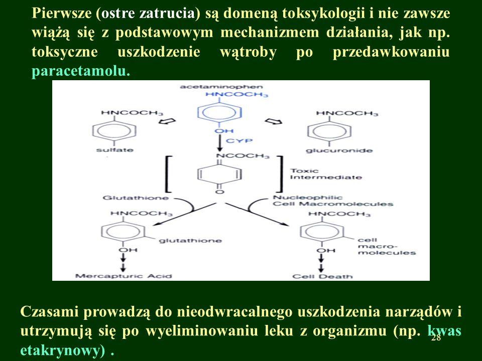 Pierwsze (ostre zatrucia) są domeną toksykologii i nie zawsze wiążą się z podstawowym mechanizmem działania, jak np. toksyczne uszkodzenie wątroby po