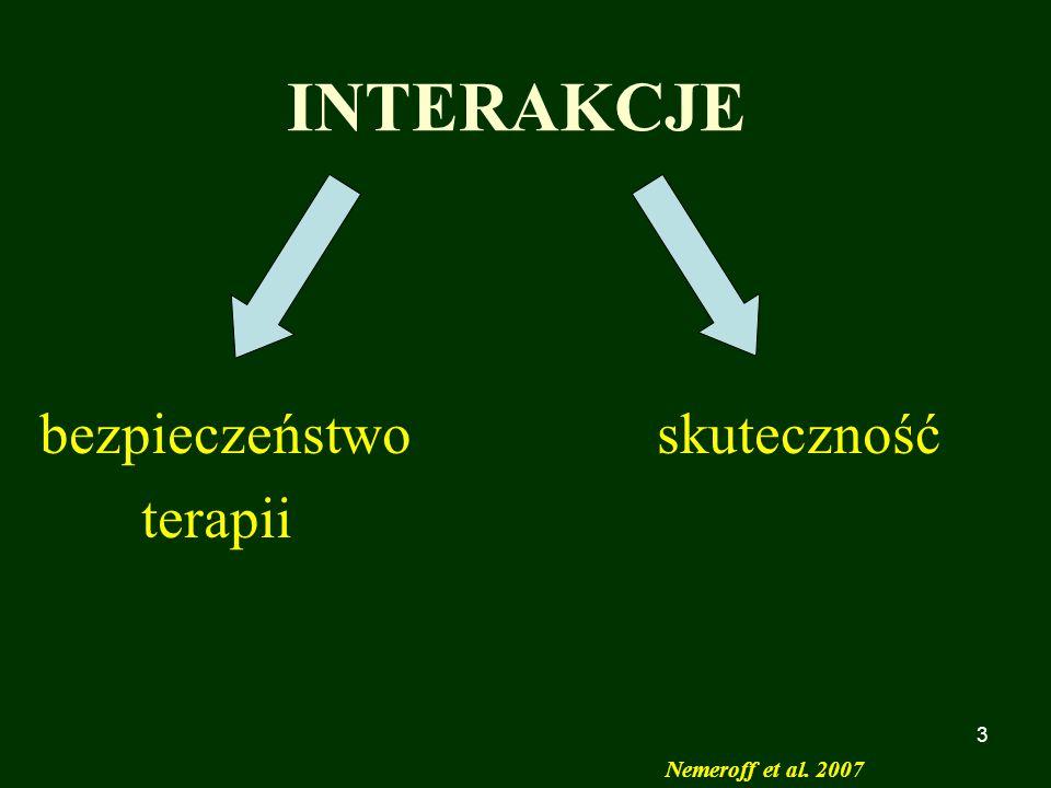 3 INTERAKCJE bezpieczeństwo skuteczność terapii Nemeroff et al. 2007