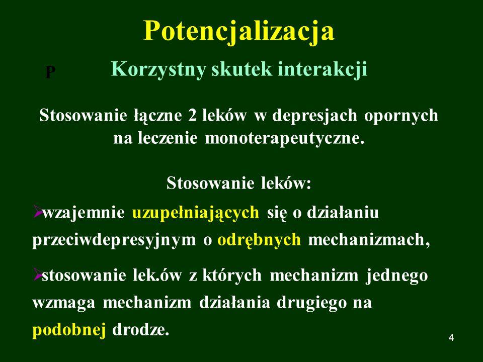 4 P Potencjalizacja Korzystny skutek interakcji Stosowanie łączne 2 leków w depresjach opornych na leczenie monoterapeutyczne. Stosowanie leków:  wza