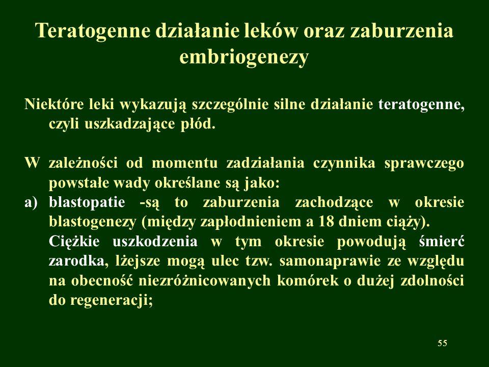 Teratogenne działanie leków oraz zaburzenia embriogenezy Niektóre leki wykazują szczególnie silne działanie teratogenne, czyli uszkadzające płód. W za