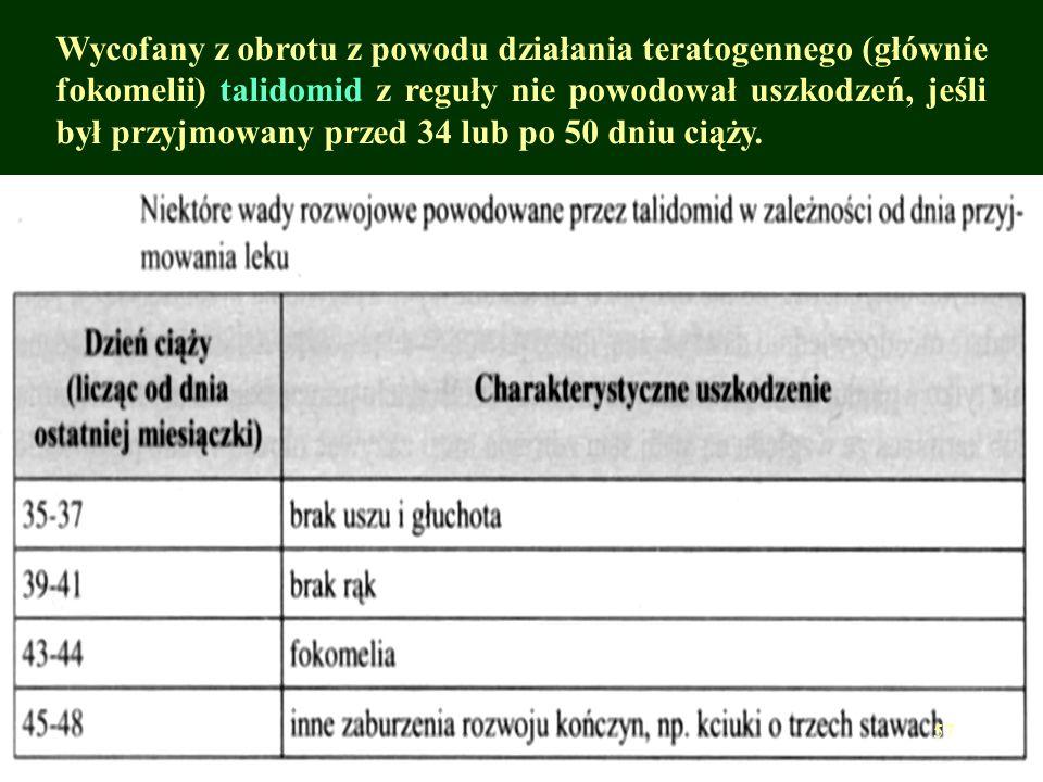 Wycofany z obrotu z powodu działania teratogennego (głównie fokomelii) talidomid z reguły nie powodował uszkodzeń, jeśli był przyjmowany przed 34 lub