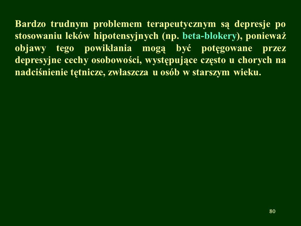 Bardzo trudnym problemem terapeutycznym są depresje po stosowaniu leków hipotensyjnych (np. beta-blokery), ponieważ objawy tego powikłania mogą być po
