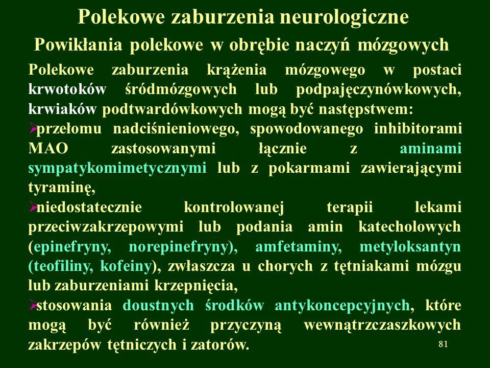Polekowe zaburzenia neurologiczne Powikłania polekowe w obrębie naczyń mózgowych Polekowe zaburzenia krążenia mózgowego w postaci krwotoków śródmózgow