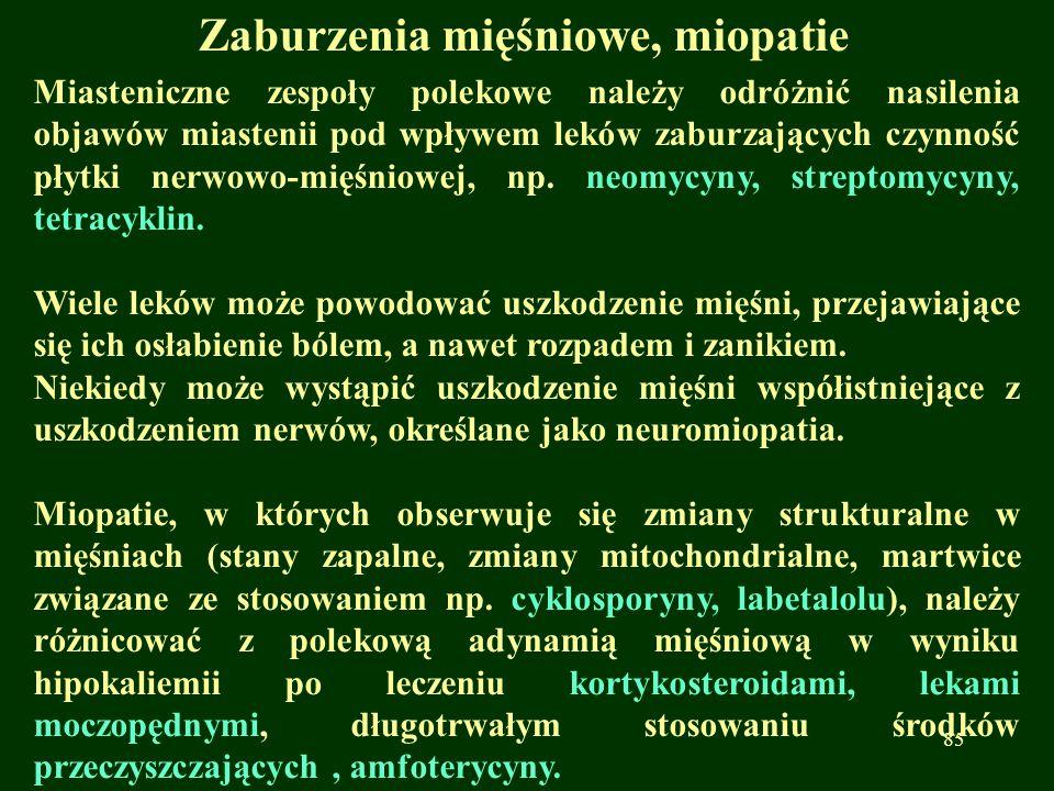 Zaburzenia mięśniowe, miopatie Miasteniczne zespoły polekowe należy odróżnić nasilenia objawów miastenii pod wpływem leków zaburzających czynność płyt