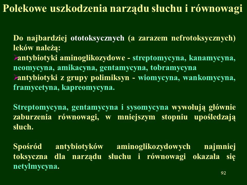 Do najbardziej ototoksycznych (a zarazem nefrotoksycznych) leków należą:  antybiotyki aminoglikozydowe - streptomycyna, kanamycyna, neomycyna, amikac