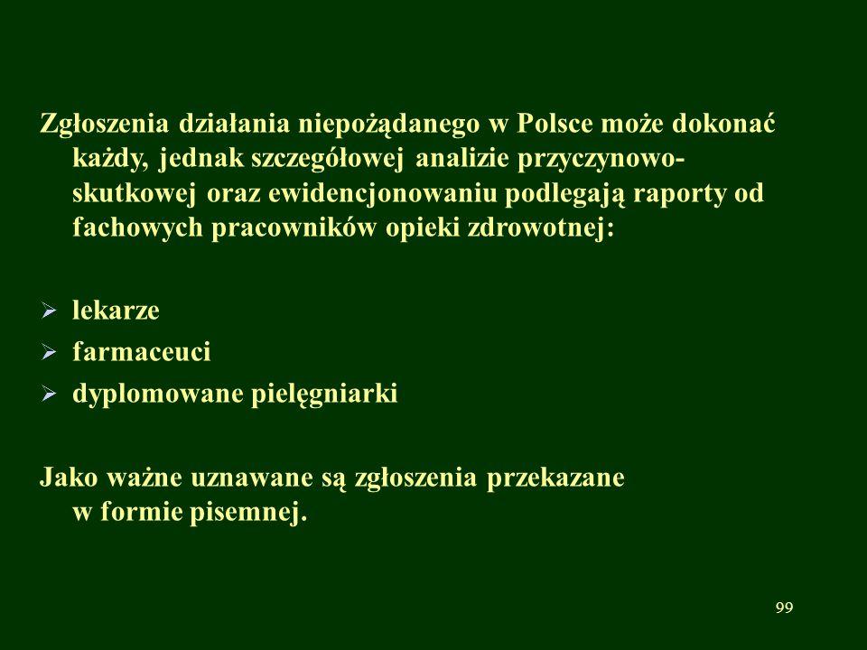 Zgłoszenia działania niepożądanego w Polsce może dokonać każdy, jednak szczegółowej analizie przyczynowo- skutkowej oraz ewidencjonowaniu podlegają ra
