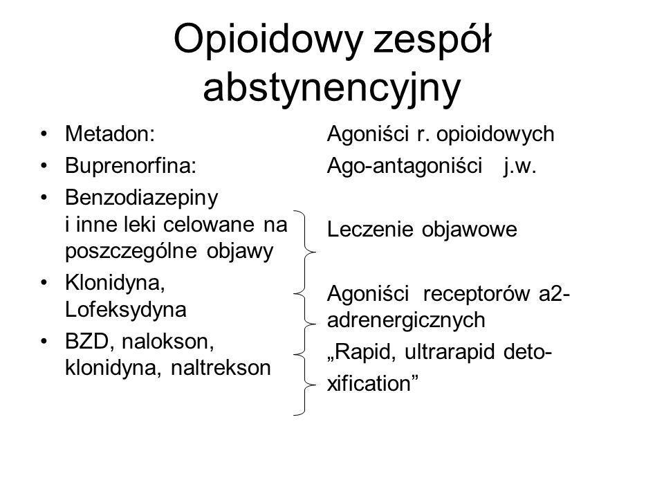 Opioidowy zespół abstynencyjny Metadon: Buprenorfina: Benzodiazepiny i inne leki celowane na poszczególne objawy Klonidyna, Lofeksydyna BZD, nalokson,