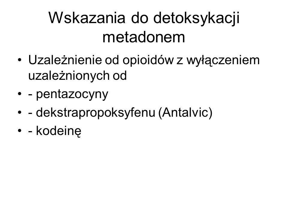 Wskazania do detoksykacji metadonem Uzależnienie od opioidów z wyłączeniem uzależnionych od - pentazocyny - dekstrapropoksyfenu (Antalvic) - kodeinę