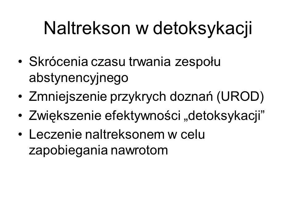 """Naltrekson w detoksykacji Skrócenia czasu trwania zespołu abstynencyjnego Zmniejszenie przykrych doznań (UROD) Zwiększenie efektywności """"detoksykacji"""""""