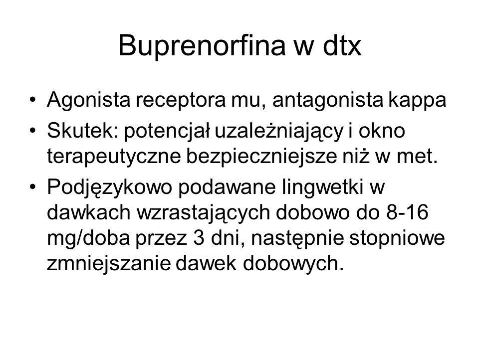 Buprenorfina w dtx Agonista receptora mu, antagonista kappa Skutek: potencjał uzależniający i okno terapeutyczne bezpieczniejsze niż w met. Podjęzykow