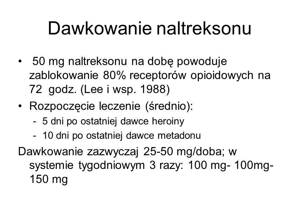 Dawkowanie naltreksonu 50 mg naltreksonu na dobę powoduje zablokowanie 80% receptorów opioidowych na 72 godz. (Lee i wsp. 1988) Rozpoczęcie leczenie (