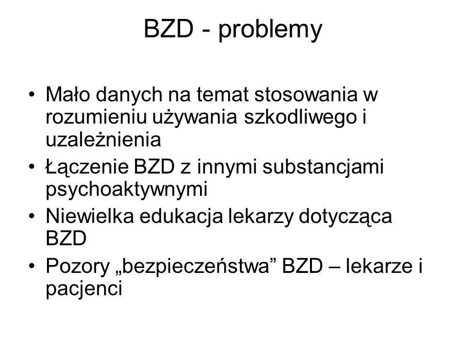 BZD - problemy Mało danych na temat stosowania w rozumieniu używania szkodliwego i uzależnienia Łączenie BZD z innymi substancjami psychoaktywnymi Nie