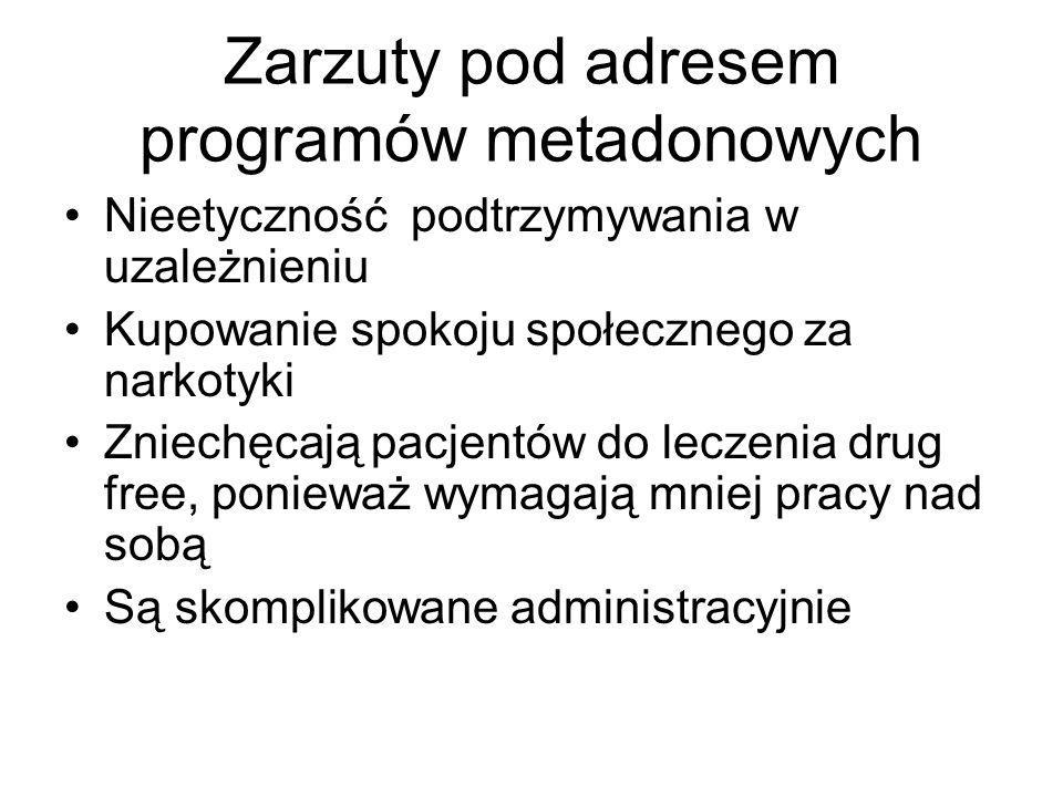 Zarzuty pod adresem programów metadonowych Nieetyczność podtrzymywania w uzależnieniu Kupowanie spokoju społecznego za narkotyki Zniechęcają pacjentów