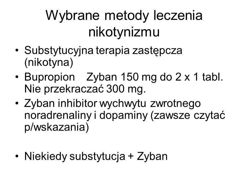 Wybrane metody leczenia nikotynizmu Substytucyjna terapia zastępcza (nikotyna) Bupropion Zyban 150 mg do 2 x 1 tabl. Nie przekraczać 300 mg. Zyban inh