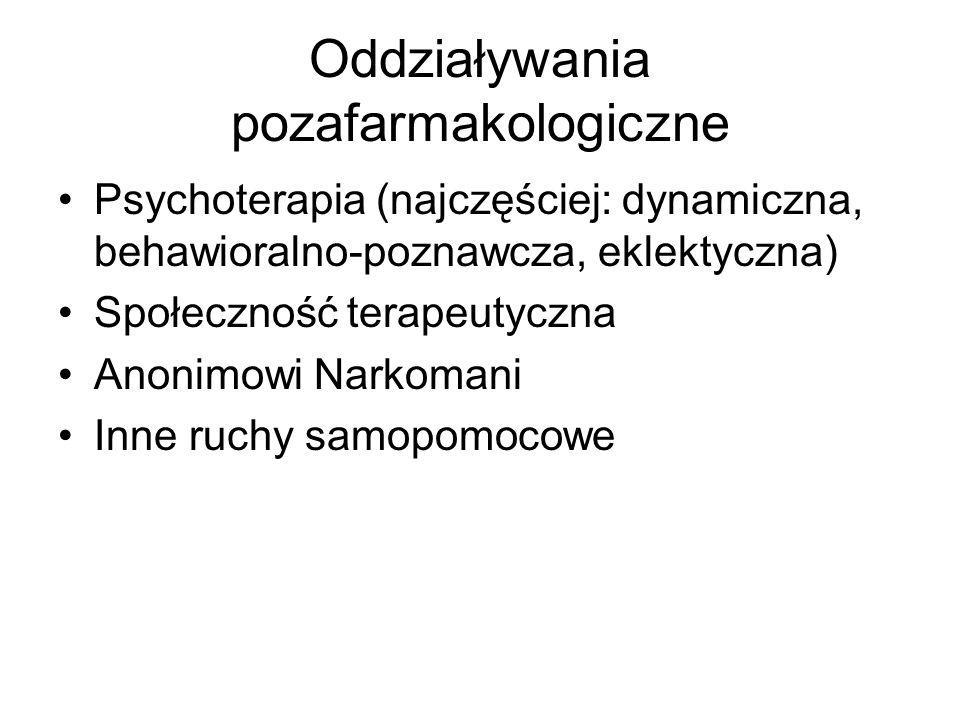 Oddziaływania pozafarmakologiczne Psychoterapia (najczęściej: dynamiczna, behawioralno-poznawcza, eklektyczna) Społeczność terapeutyczna Anonimowi Nar