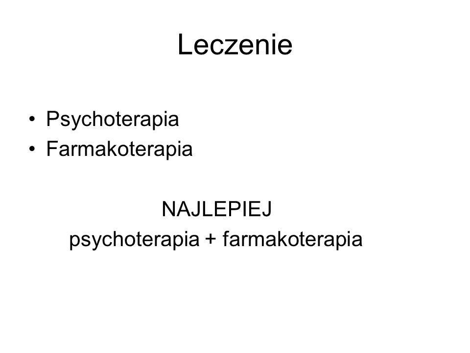 Leczenie Psychoterapia Farmakoterapia NAJLEPIEJ psychoterapia + farmakoterapia