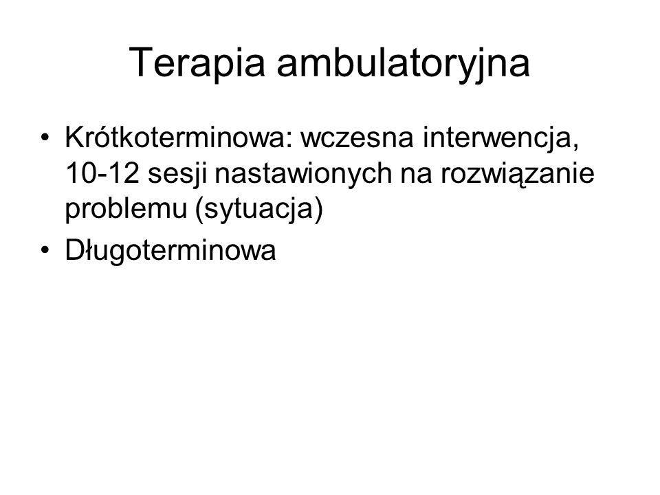 Terapia ambulatoryjna Krótkoterminowa: wczesna interwencja, 10-12 sesji nastawionych na rozwiązanie problemu (sytuacja) Długoterminowa