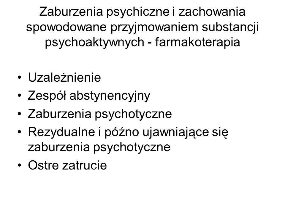 Zaburzenia psychiczne i zachowania spowodowane przyjmowaniem substancji psychoaktywnych - farmakoterapia Uzależnienie Zespół abstynencyjny Zaburzenia