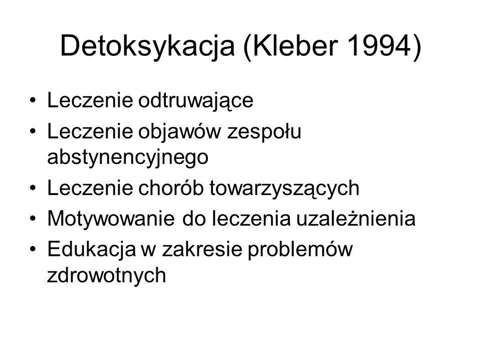 Detoksykacja (Kleber 1994) Leczenie odtruwające Leczenie objawów zespołu abstynencyjnego Leczenie chorób towarzyszących Motywowanie do leczenia uzależ