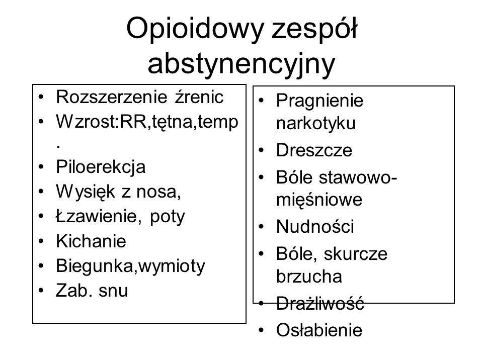 Opioidowy zespół abstynencyjny Rozszerzenie źrenic Wzrost:RR,tętna,temp. Piloerekcja Wysięk z nosa, Łzawienie, poty Kichanie Biegunka,wymioty Zab. snu