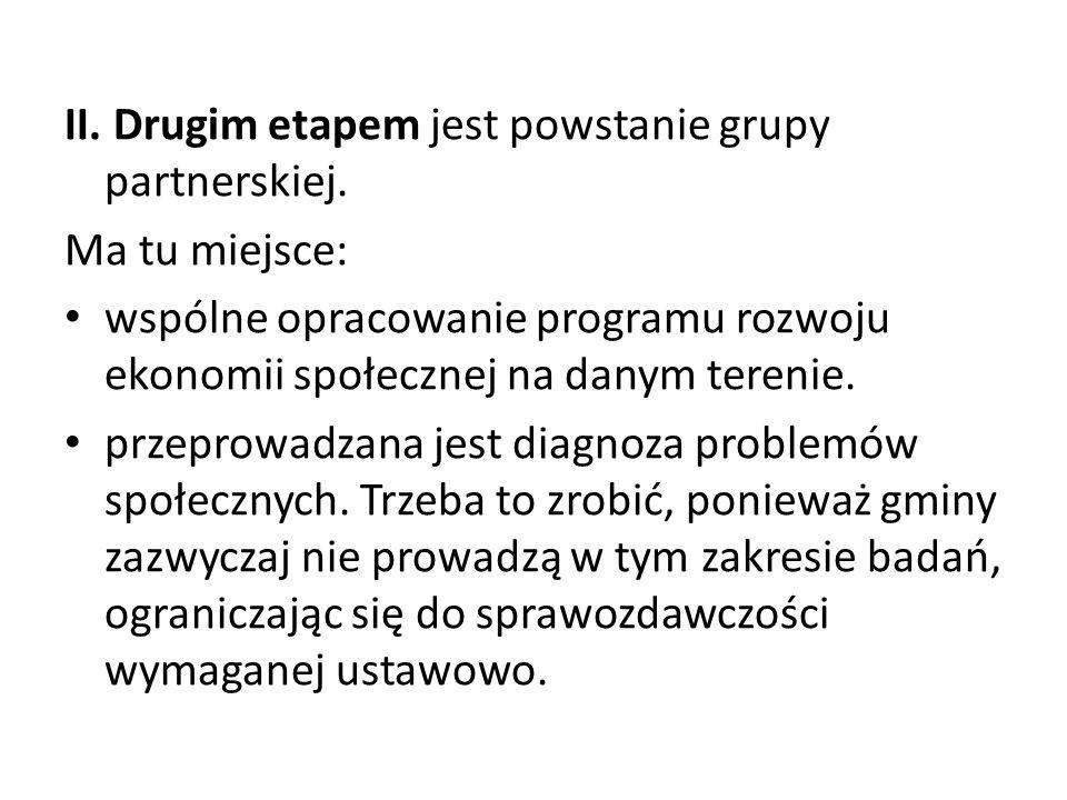 II. Drugim etapem jest powstanie grupy partnerskiej. Ma tu miejsce: wspólne opracowanie programu rozwoju ekonomii społecznej na danym terenie. przepro
