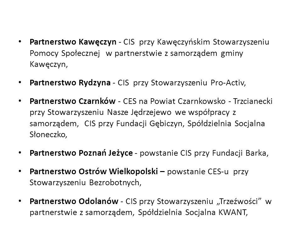Partnerstwo Kawęczyn - CIS przy Kawęczyńskim Stowarzyszeniu Pomocy Społecznej w partnerstwie z samorządem gminy Kawęczyn, Partnerstwo Rydzyna - CIS pr