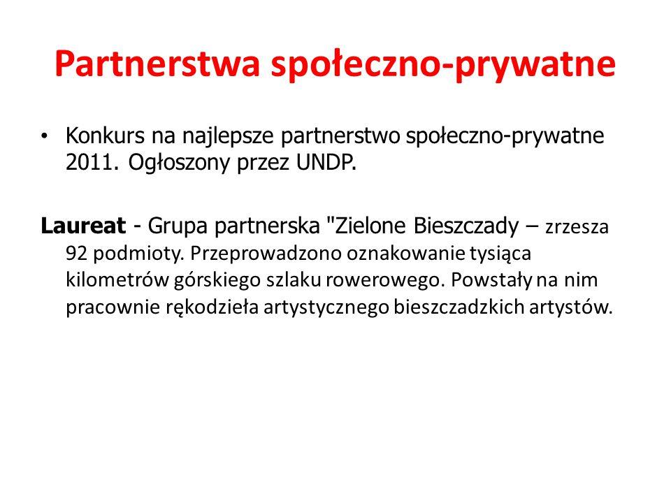 Partnerstwa społeczno-prywatne Konkurs na najlepsze partnerstwo społeczno-prywatne 2011. Ogłoszony przez UNDP. Laureat - Grupa partnerska