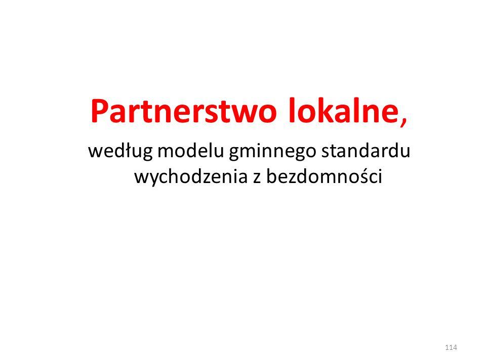 Partnerstwo lokalne, według modelu gminnego standardu wychodzenia z bezdomności 114