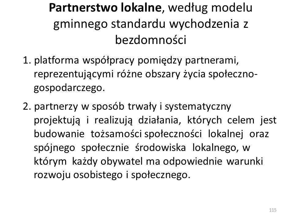 Partnerstwo lokalne, według modelu gminnego standardu wychodzenia z bezdomności 1. platforma współpracy pomiędzy partnerami, reprezentującymi różne ob