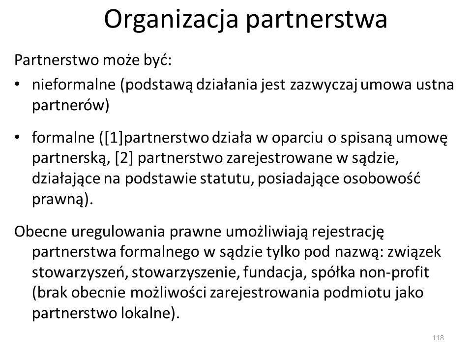 Organizacja partnerstwa Partnerstwo może być: nieformalne (podstawą działania jest zazwyczaj umowa ustna partnerów) formalne ([1]partnerstwo działa w oparciu o spisaną umowę partnerską, [2] partnerstwo zarejestrowane w sądzie, działające na podstawie statutu, posiadające osobowość prawną).