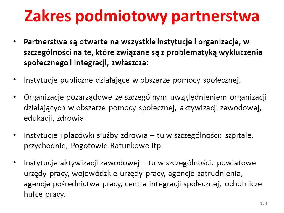 Zakres podmiotowy partnerstwa Partnerstwa są otwarte na wszystkie instytucje i organizacje, w szczególności na te, które związane są z problematyką wykluczenia społecznego i integracji, zwłaszcza: Instytucje publiczne działające w obszarze pomocy społecznej, Organizacje pozarządowe ze szczególnym uwzględnieniem organizacji działających w obszarze pomocy społecznej, aktywizacji zawodowej, edukacji, zdrowia.