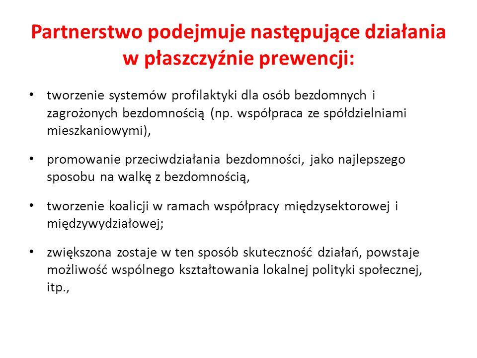 Partnerstwo podejmuje następujące działania w płaszczyźnie prewencji: tworzenie systemów profilaktyki dla osób bezdomnych i zagrożonych bezdomnością (