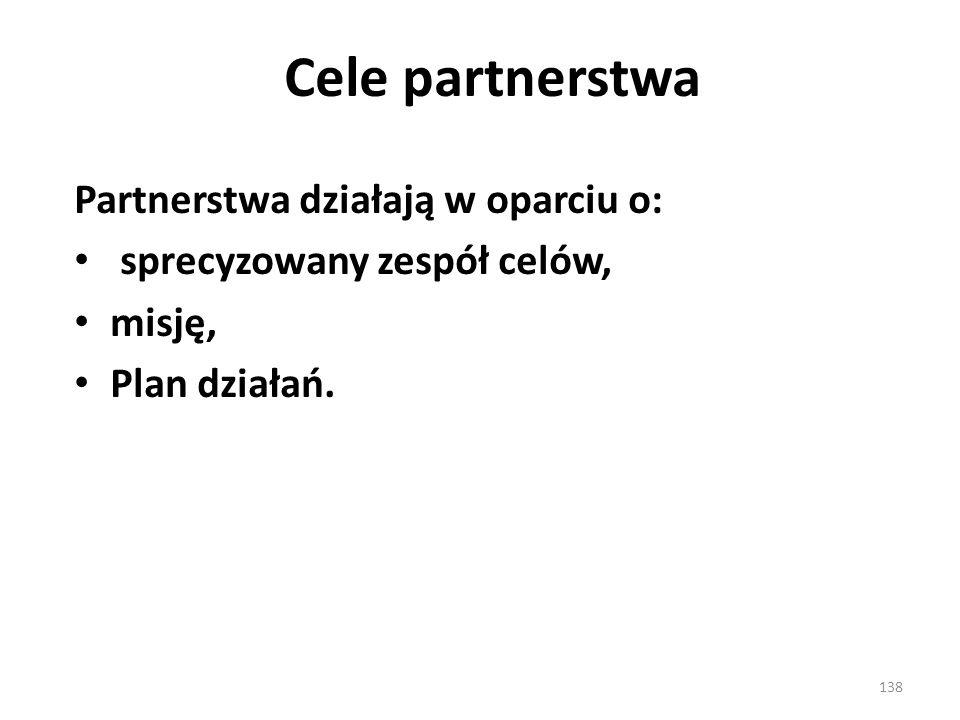 Cele partnerstwa Partnerstwa działają w oparciu o: sprecyzowany zespół celów, misję, Plan działań. 138