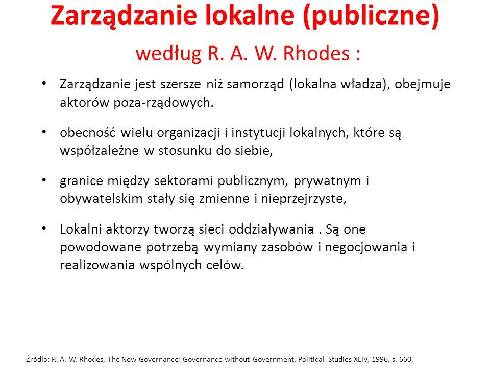 Zarządzanie lokalne (publiczne) według R. A. W. Rhodes : Zarządzanie jest szersze niż samorząd (lokalna władza), obejmuje aktorów poza-rządowych. obec