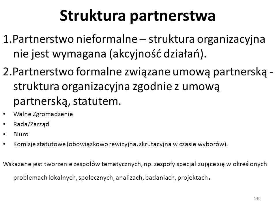Struktura partnerstwa 1.Partnerstwo nieformalne – struktura organizacyjna nie jest wymagana (akcyjność działań). 2.Partnerstwo formalne związane umową