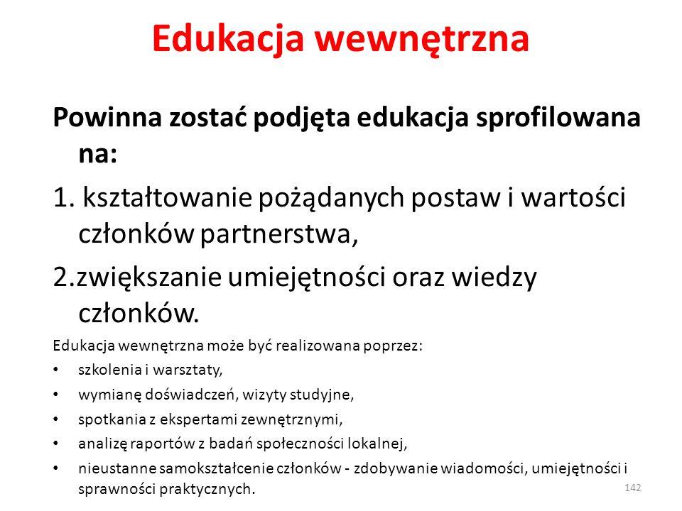 Edukacja wewnętrzna Powinna zostać podjęta edukacja sprofilowana na: 1. kształtowanie pożądanych postaw i wartości członków partnerstwa, 2.zwiększanie