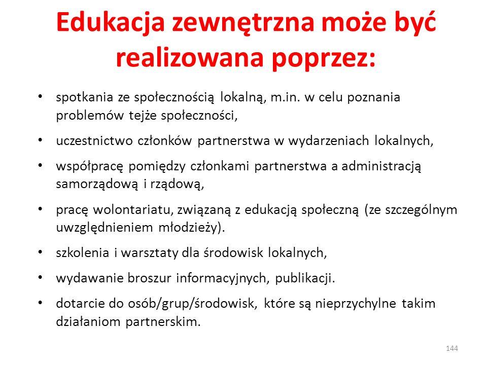 Edukacja zewnętrzna może być realizowana poprzez: spotkania ze społecznością lokalną, m.in. w celu poznania problemów tejże społeczności, uczestnictwo
