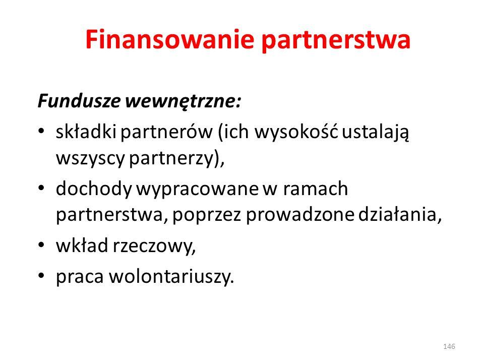Finansowanie partnerstwa Fundusze wewnętrzne: składki partnerów (ich wysokość ustalają wszyscy partnerzy), dochody wypracowane w ramach partnerstwa, poprzez prowadzone działania, wkład rzeczowy, praca wolontariuszy.