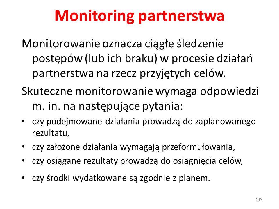 Monitoring partnerstwa Monitorowanie oznacza ciągłe śledzenie postępów (lub ich braku) w procesie działań partnerstwa na rzecz przyjętych celów. Skute