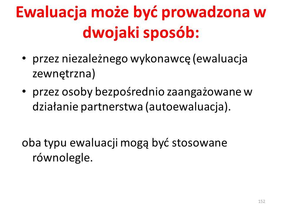Ewaluacja może być prowadzona w dwojaki sposób: przez niezależnego wykonawcę (ewaluacja zewnętrzna) przez osoby bezpośrednio zaangażowane w działanie